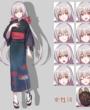立ち絵素材 女性14 和服・狐面